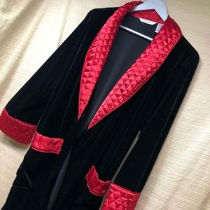 Delicates Velour Long Robe Quilted Collar & Cuffs